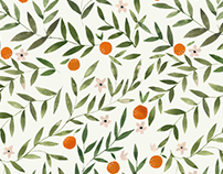 watercolor oranges / floral pattern design