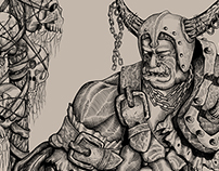 Drawing of an orc. Sketch on paper and digital inking.