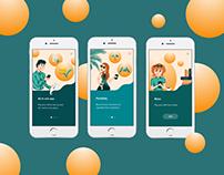 Onboarding screens for mobile app & illustrations