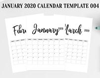 Free 2020 Calendar Printable Template 004