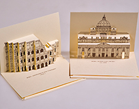 3D Popup Kirigami postcards with Italian Monuments