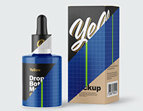 5 Dropper Bottles with Box Mockups