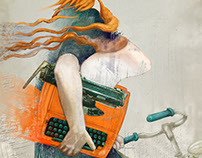 Ilustración Orange typewriter