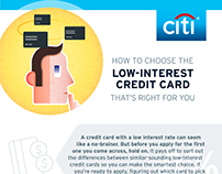 Low interest credit card infographic for Citi