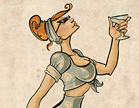 Pin Up Cocktail Girl Illustration