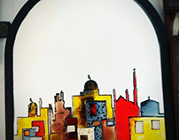 Abstract Jerusalem Drawn on a mirror