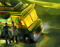 Tacos in AREA 51. Concept paint sketch