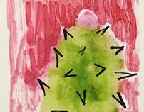 Three Mono Prints: Cactus