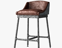 3d model of iron barstool with leater seating