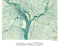 Washington, US. Blue vintage map poster