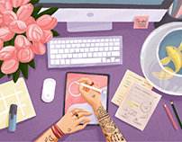 Digital Art: Creative Workspace Illustrations