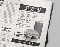 Five Guys Rebrand Newspaper Ad - Black and White