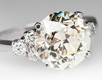 Vintage 3.6 Carat Transitional Cut Diamond Ring