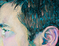Pastel portrait of a stylish bearded man