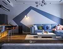 Design living room with kitchen - Cairo - Egypt