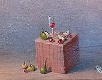 """""""Actors №2"""" acrylic, wooden board"""