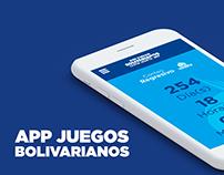 Interfaz App Móvil Juegos Bolivarianos (2017)