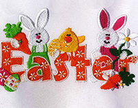 PLAYFUL CHICK AND BUNNY EASTER EMBROIDERY DESIGN