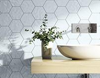 Bathroom 3D Rendering Tiles Shapes/Colors