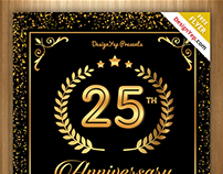Free Anniversary Party Flyer PSD Template
