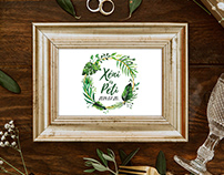 Tropical Watercolor Leaves Wedding design