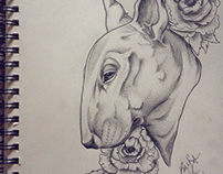 Bull Terrier and roses