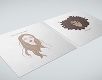 Yes of curls. Illustrations for a hair salon.