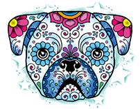 BAD TASTE Design - Puppy - Mexican Sugar Skull Style