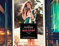 Free Roadside Outdoor Bus Stop Billboard Mock-Up