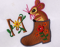 CUTE RAT IN A BOOT EMBROIDERY DESIGN