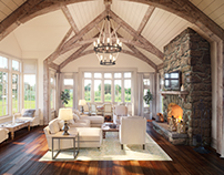 Family Room. Gambrel style house, Greenwich, CT, US.