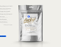 Mock-up Glossy Metallic Doy-Pack With Zipper