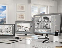 CGI Annette's mountain office: life 3d drawing.