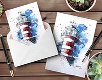 Lighthouses original watercolor illustrations.