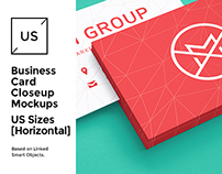 US Business Cards Mockup [close-up]
