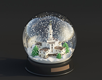 Frankivsk Town Hall in The Snow Globe