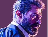 LOGAN / Hugh Jackman - Low poly digital portrait