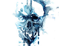 Skull Watercolor for Book Cover