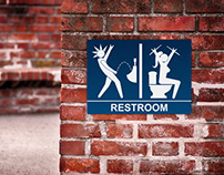 Metal Concert Restroom Sign