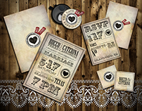Rocco and Caterina. Vintage wedding pack invitation