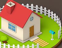 Isometric Lowpoly House - Animated