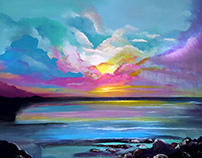 Pink Clouds Painting 16x20