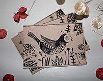 linocut greeting card