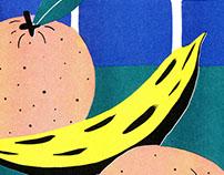 Oranges & Bananas Risograph Print