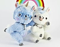 Magical Unicorns, OOAK poseable art toys