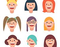 Female|Male flat avatars