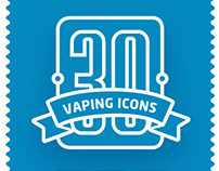 Collection vaping flat vector icons (Coming soon to mar