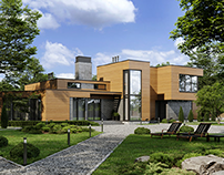 Modern private villa rendering