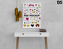 Free Table Poster Painting Mockup