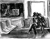 Halloween in NYC sketchbook page